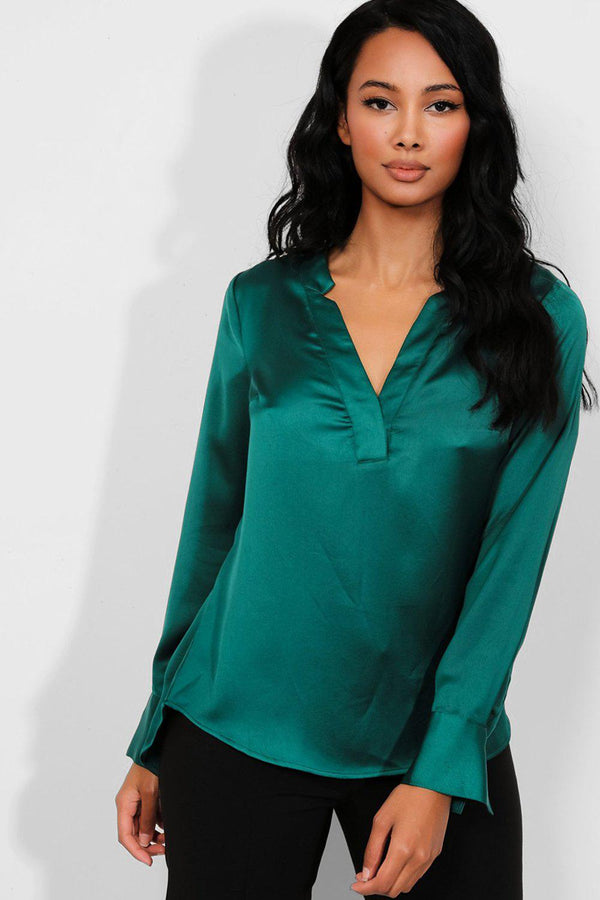 Forest Green Satin Touch V-Neck Blouse - SinglePrice