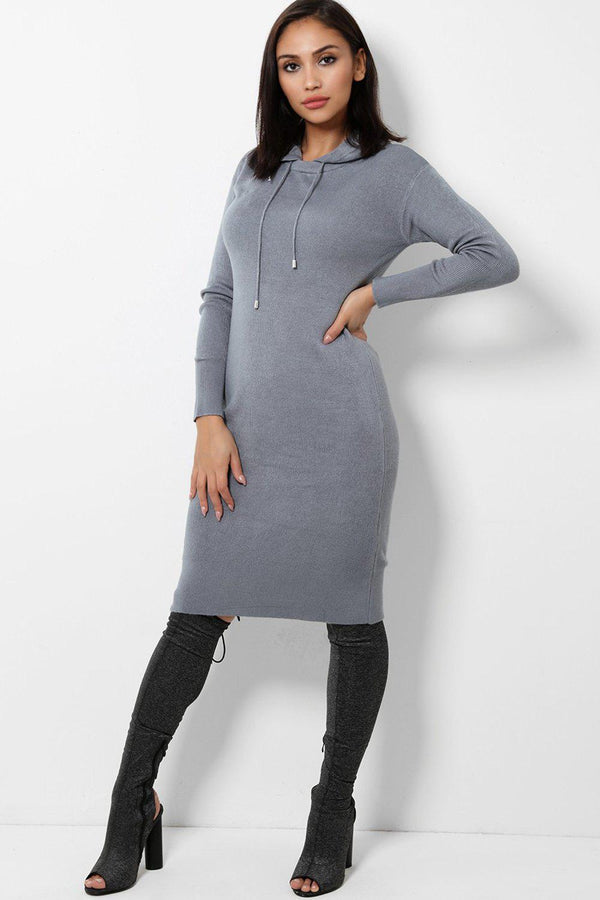 Grey Knitted Midi Dress With Hoodie-SinglePrice