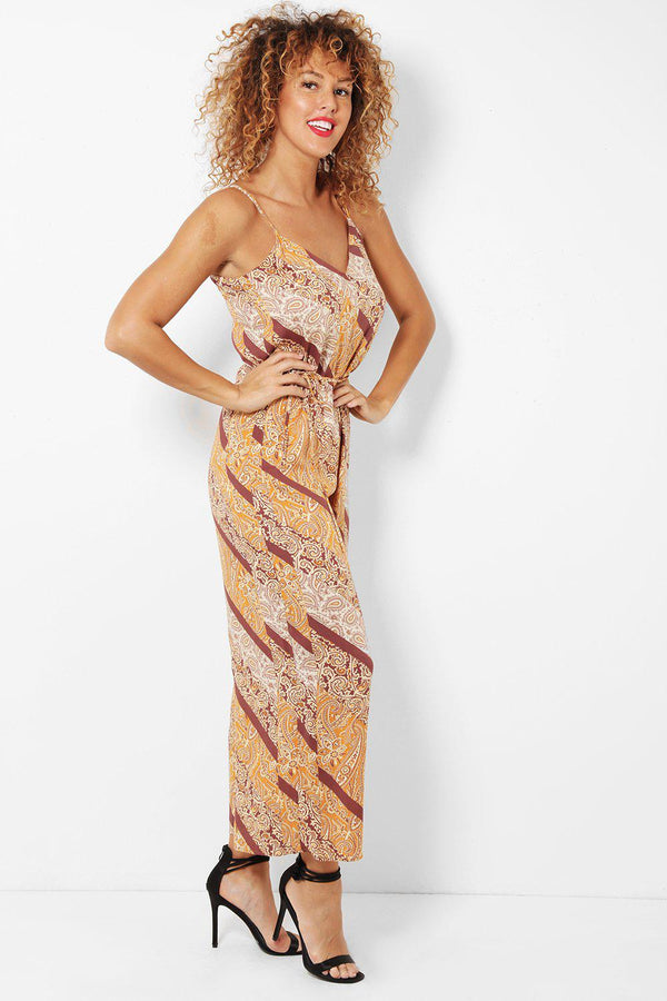 Brown Paisley Print Wide Leg Jumpsuit