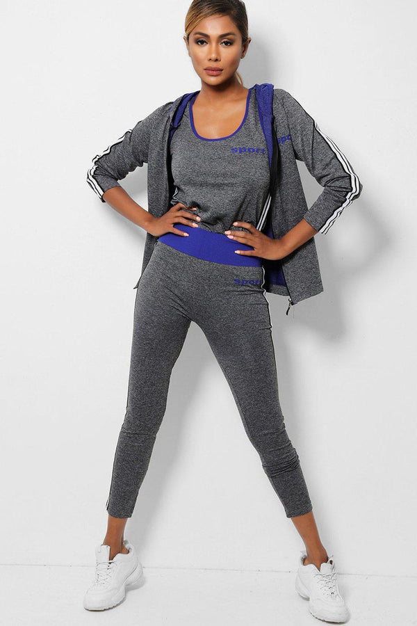 Blue Details Side Stripes Grey Hooded 3 Piece Tracksuit - SinglePrice
