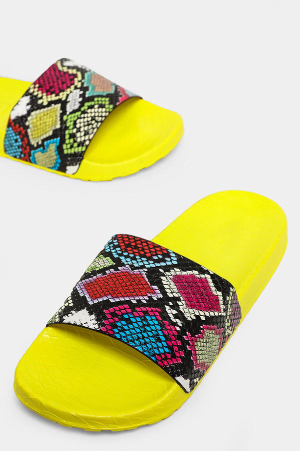 Multicolour Python Print Yellow Sliders - SinglePrice