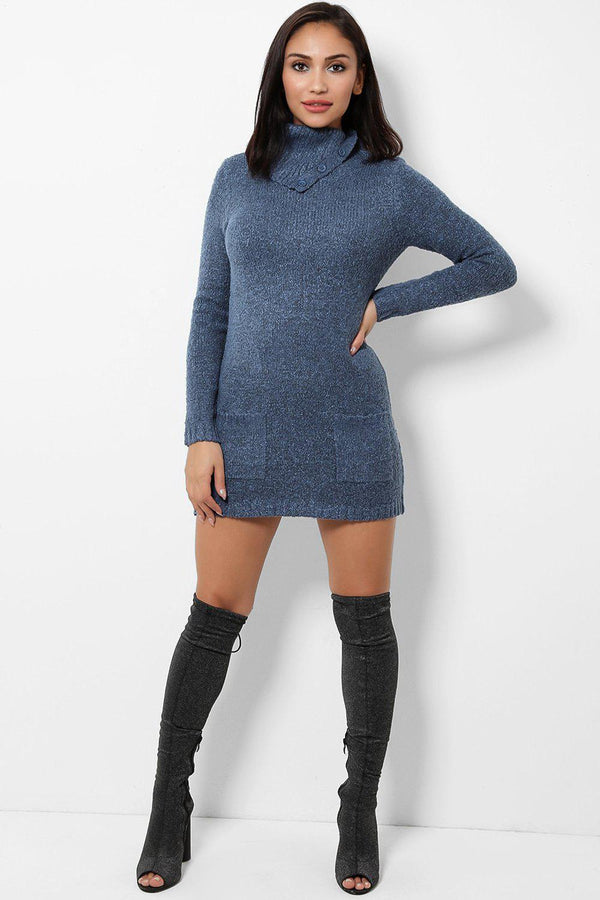 Buttoned Turtle Neck Navy Knitted Dress-SinglePrice