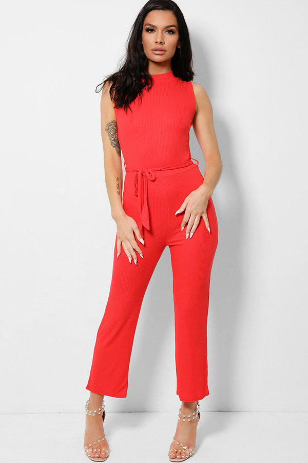 Red Ribbed Stretchy High Neck Zip Back Jumpsuit-SinglePrice