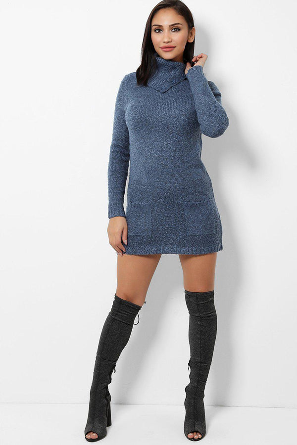 Buttoned Turtle Neck Navy Knitted Dress - SinglePrice