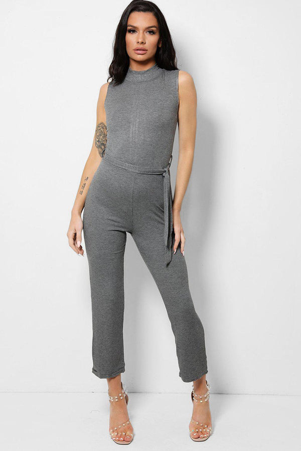 Grey Ribbed Stretchy High Neck Zip Back Jumpsuit-SinglePrice