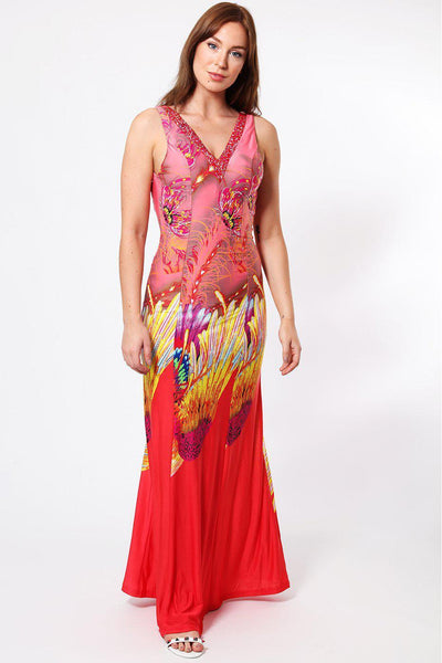Glitter V-Neck Bird Print Pink Maxi Dress-SinglePrice