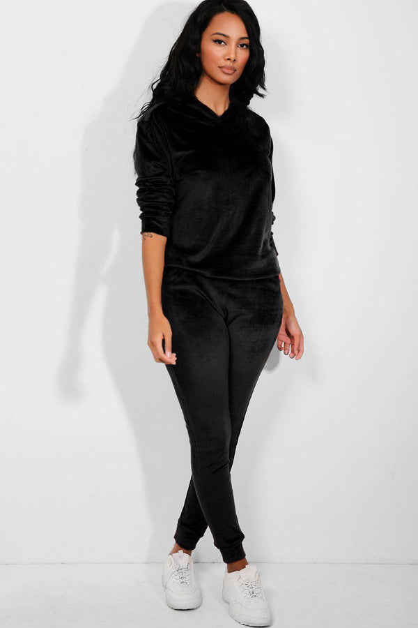 All Black Super-Soft Velvet Hooded Tracksuit - SinglePrice