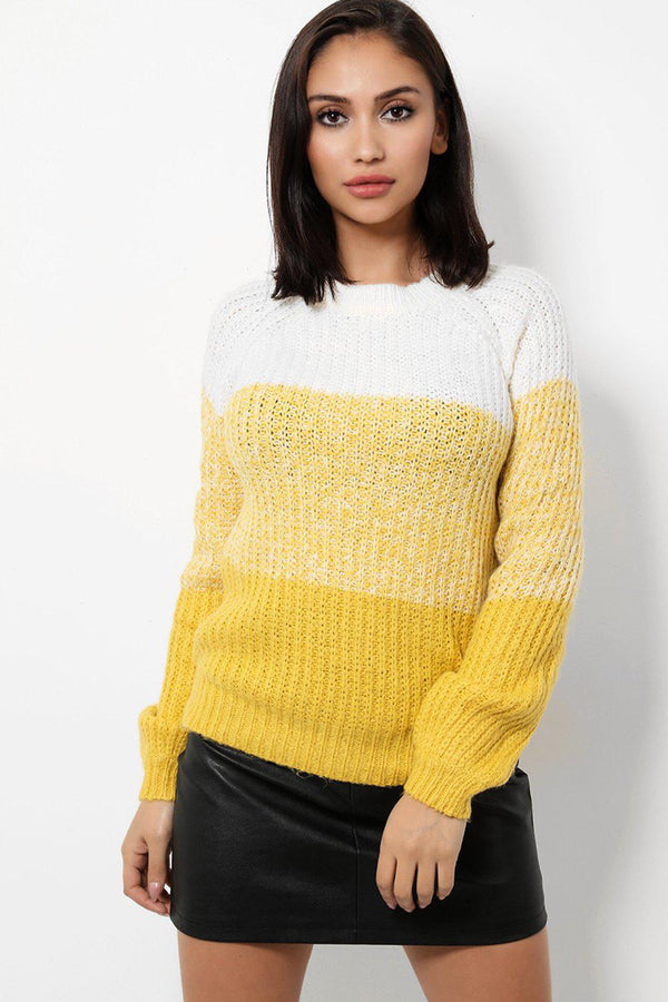 Gradual Yellow Colour Block Knitted Jumper