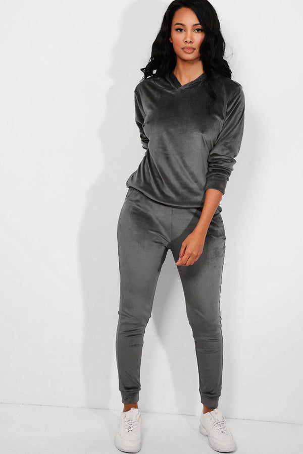 All Grey Super-Soft Velvet Hooded Tracksuit