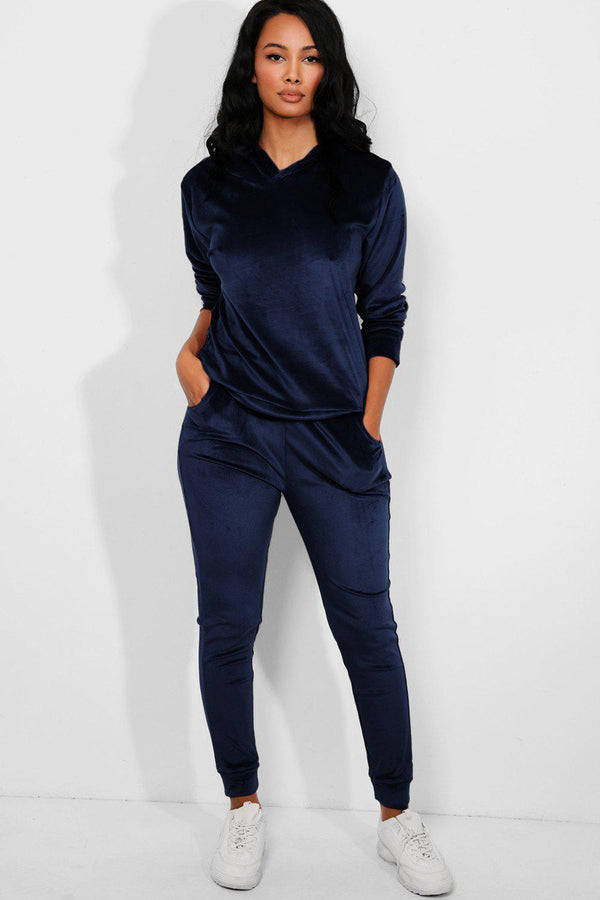 All Navy Super-Soft Velvet Hooded Tracksuit