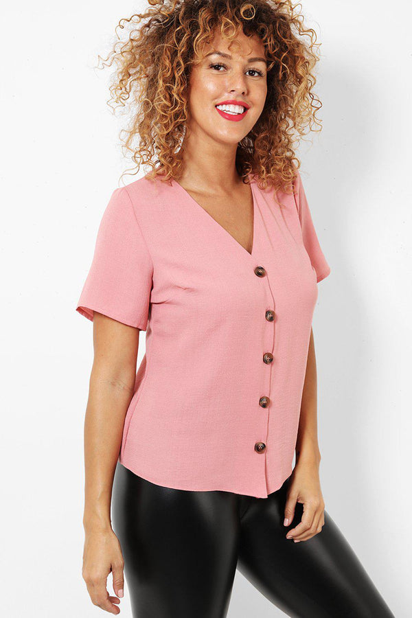 Pink Buttoned Front Short Sleeve Smart Top-SinglePrice