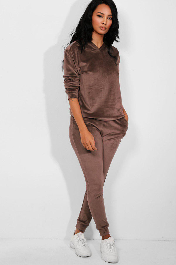 All Taupe Super-Soft Velvet Hooded Tracksuit