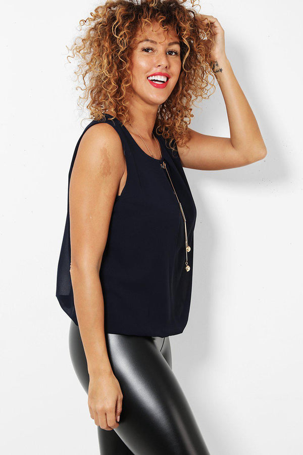 Gold Necklace Navy Sleeveless Chiffon Top-SinglePrice
