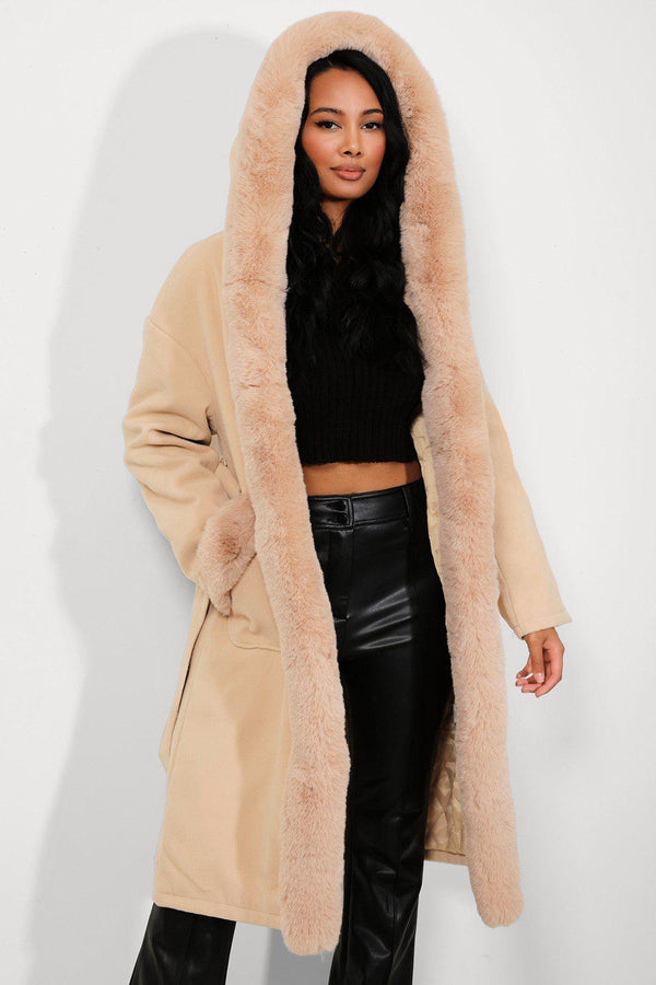 Apricot Faux Fur Trims Vegan Suede Midi Coat