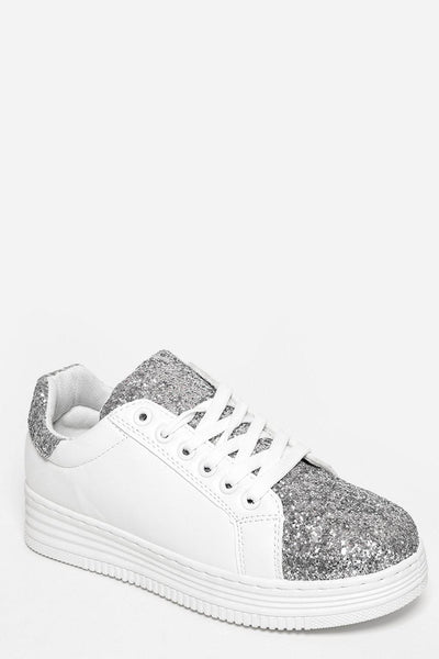 Silver Glitter Details White Trainers-SinglePrice
