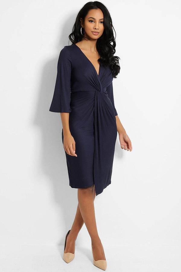 Navy Knot Front V-Neck Ribbed Midi Dress - SinglePrice