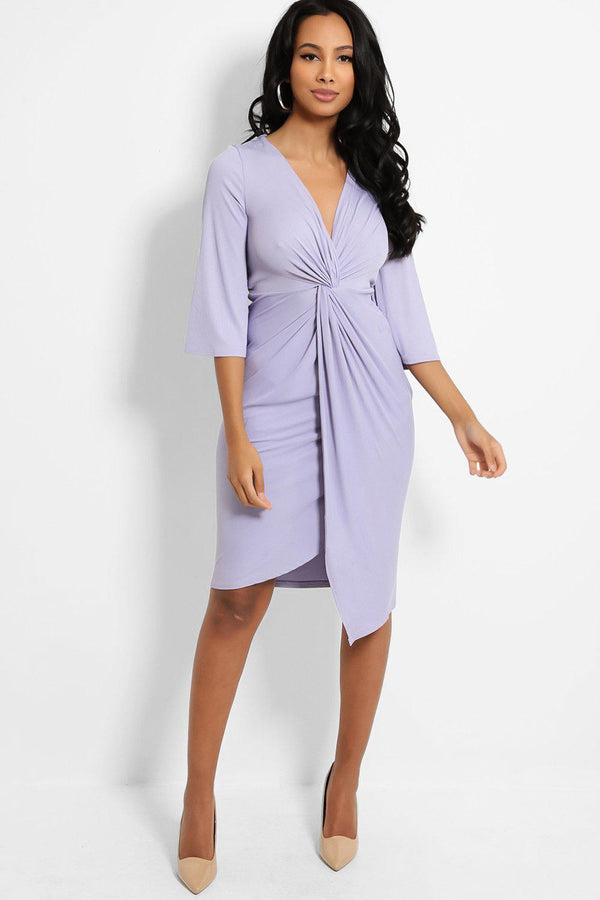 Lilac Knot Front V-Neck Ribbed Midi Dress - SinglePrice