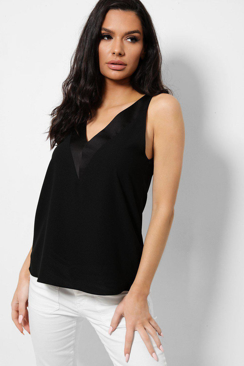 Black V-Neck T-Bar Vest Top - SinglePrice