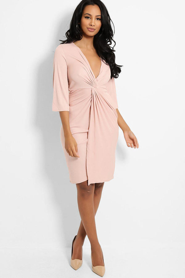 Pink Knot Front V-Neck Ribbed Midi Dress - SinglePrice