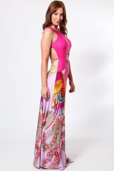 Cut Out Front Open Back Purple Maxi Dress-SinglePrice