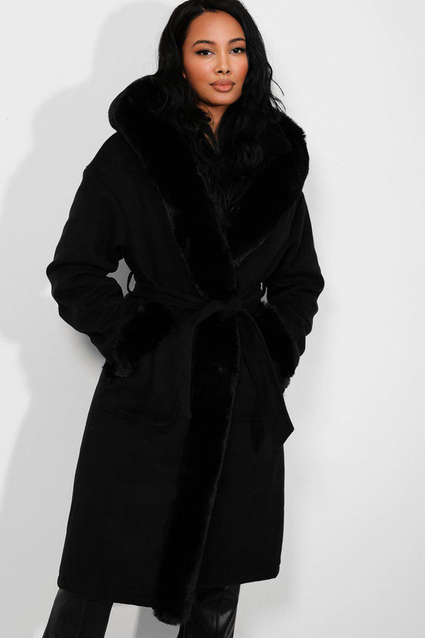 Black Faux Fur Trims Vegan Suede Midi Coat