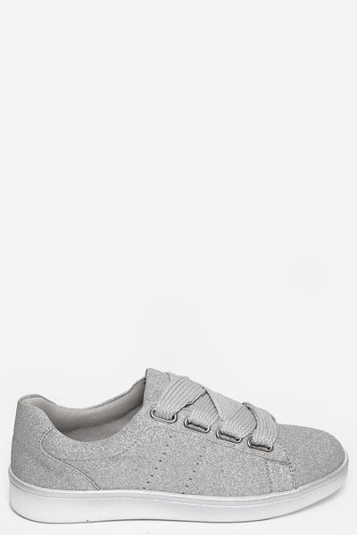 Silver Glitter Trainers-SinglePrice
