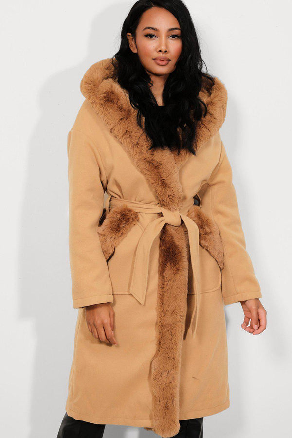 Camel Faux Fur Trims Vegan Suede Midi Coat