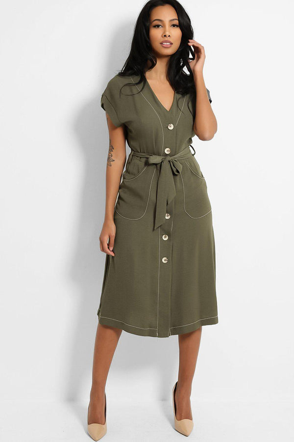 Khaki Buttons Front Self Belt Contrast Stitch Midi Dress - SinglePrice