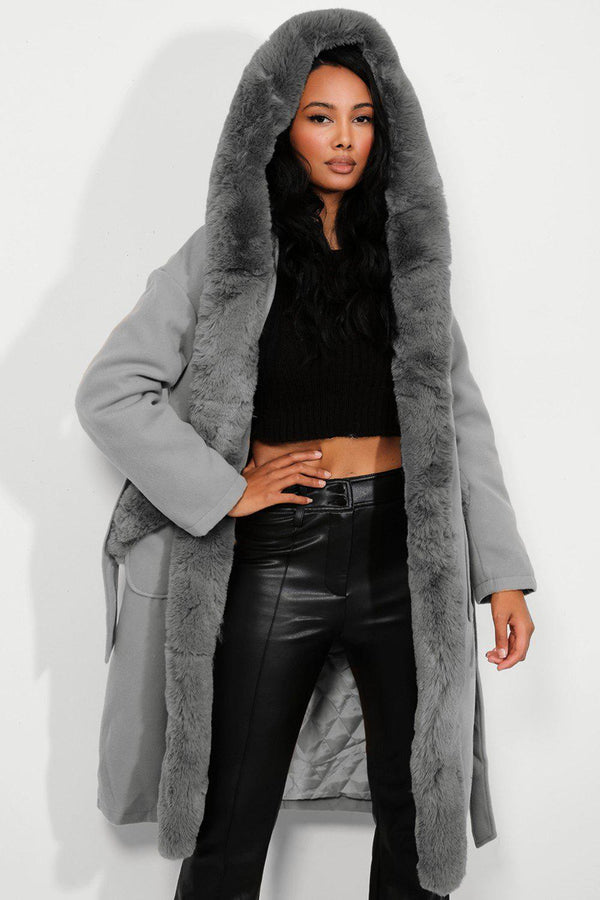 Grey Faux Fur Trims Vegan Suede Midi Coat