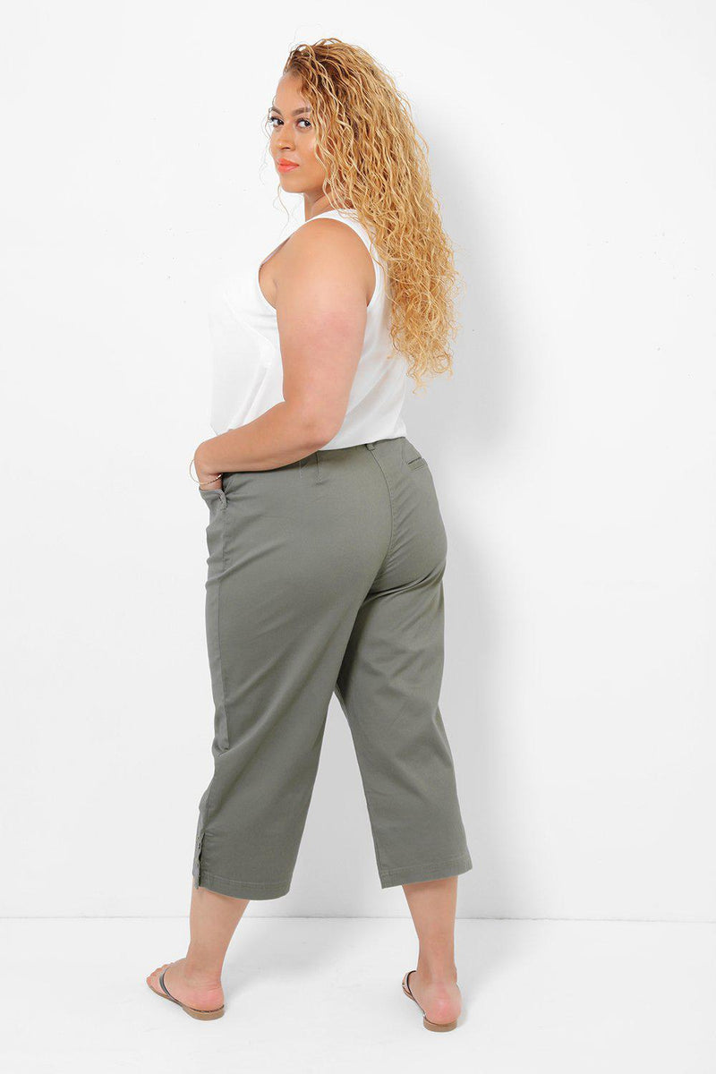 Popper Button Details Army Green Cropped Trousers - SinglePrice