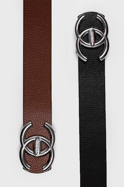 Silver Buckle Black Brown Reversible Belt-SinglePrice