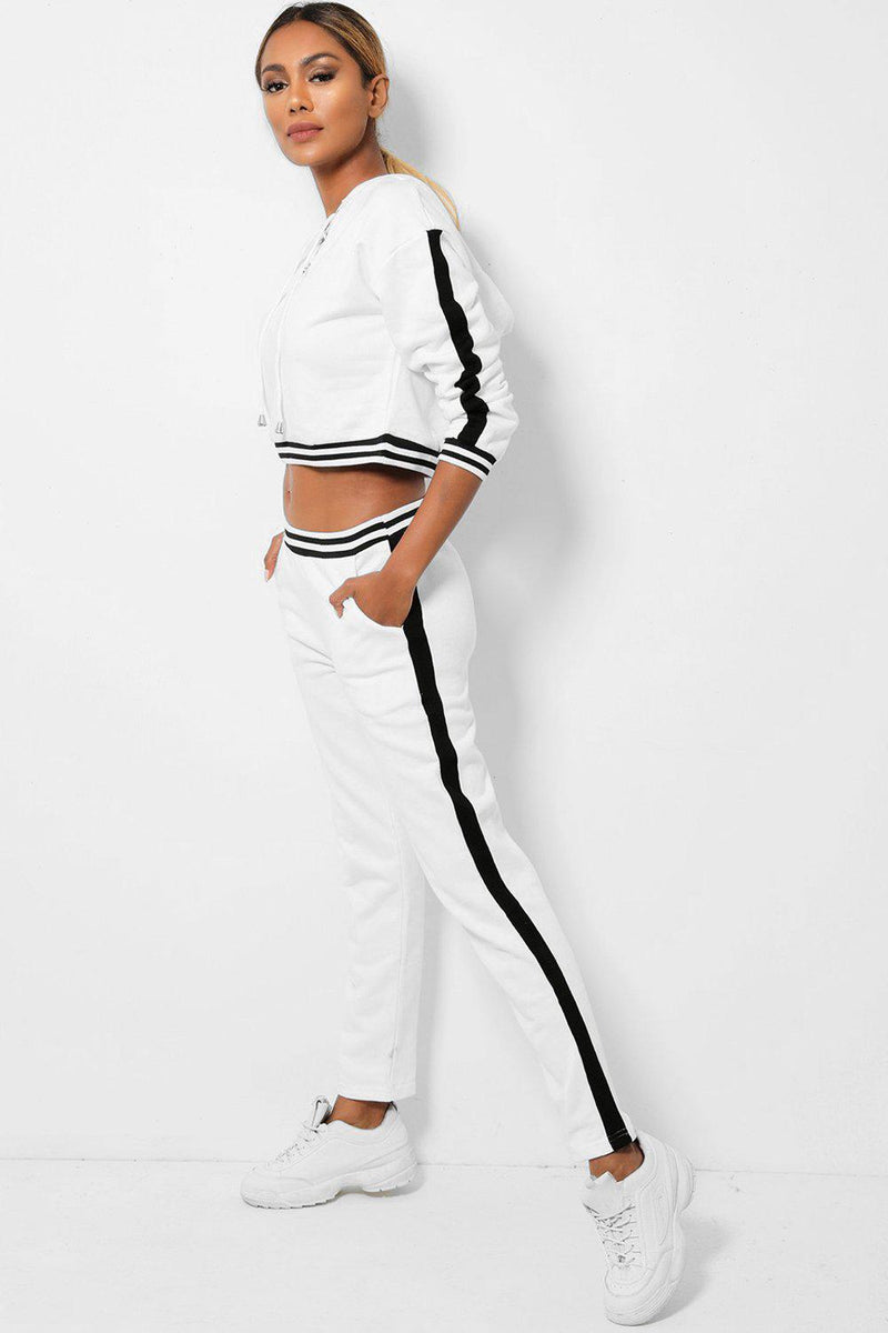 White Cropped Hooded Jumper And Trousers 2 Piece Set - SinglePrice