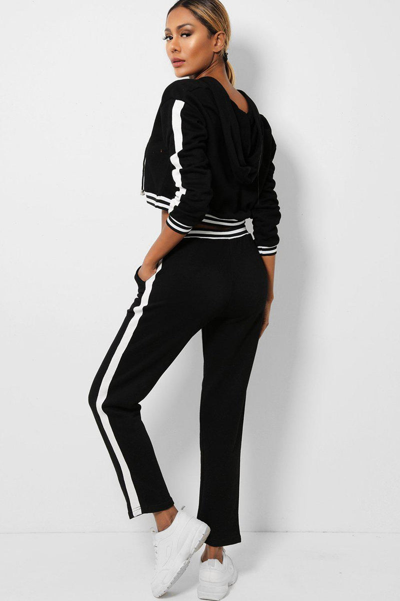 Black Cropped Hooded Jumper And Trousers 2 Piece Set - SinglePrice