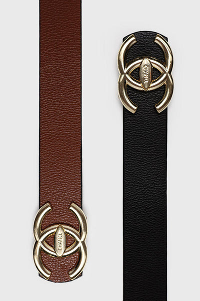 Gold Buckle Black Brown Reversible Belt-SinglePrice