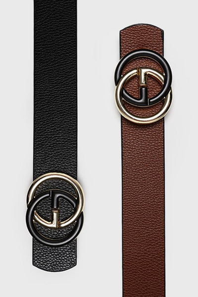 Black & Gold Buckle Black Brown Reversible Belt-SinglePrice