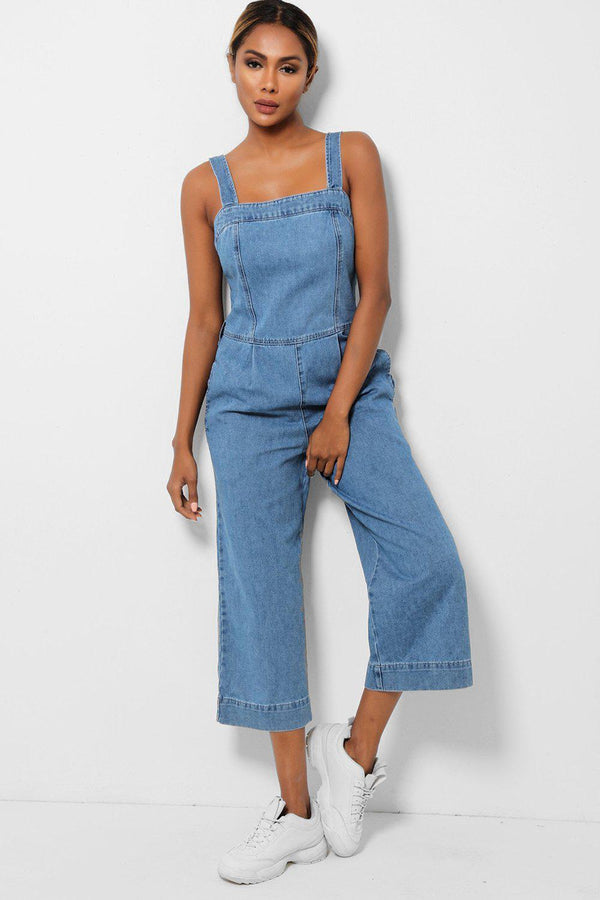 Blue Wide Cropped Leg Denim Jumsuit