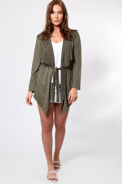 Khaki Suedette Waterfall Front Cardigan