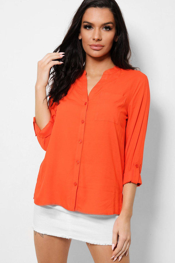 Orange Roll-Up Sleeves Button Front Shirt-SinglePrice