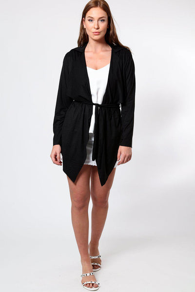 Black Suedette Waterfall Front Cardigan