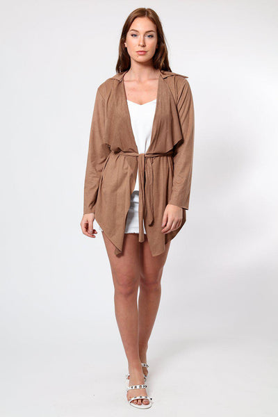 Brown Suedette Waterfall Front Cardigan-SinglePrice