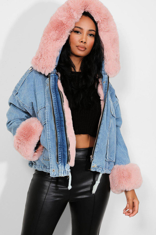 Pink Detachable Faux Fur Blue Hooded Denim Jacket