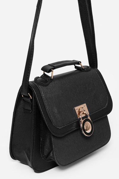 Black Two Tone Lock Charm Handbag-SinglePrice