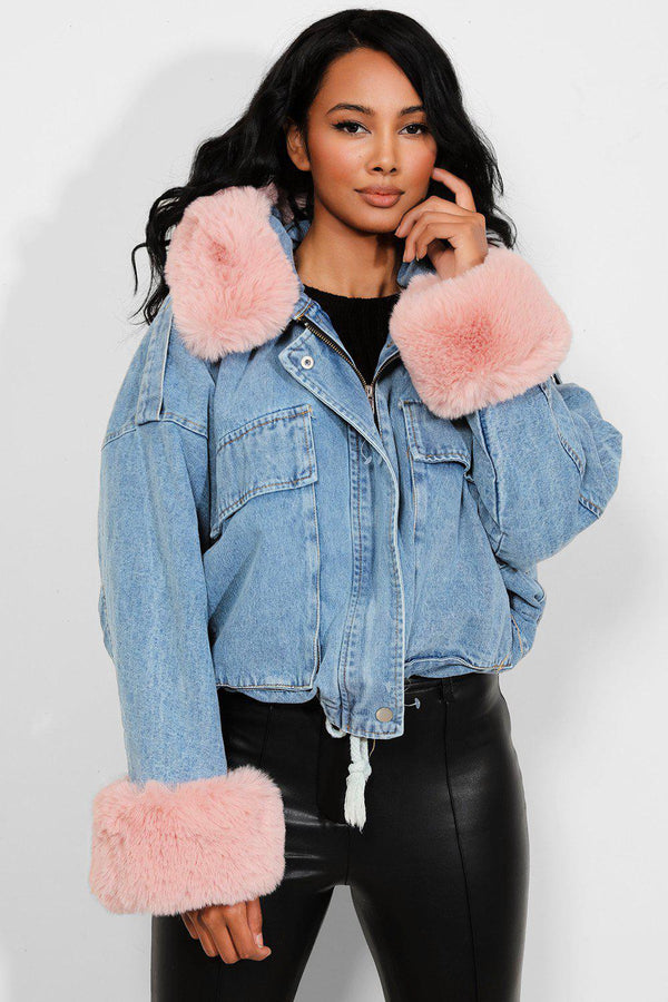 Pink Detachable Faux Fur Blue Hooded Denim Jacket-SinglePrice