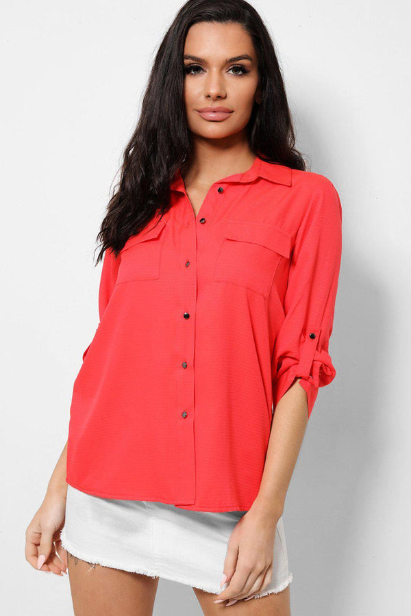 Red Contrast Buttons Front Textured Shirt-SinglePrice