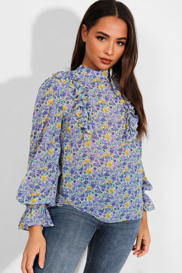 Blue Tiny Flowers Print Frill Details Chiffon Blouse - SinglePrice
