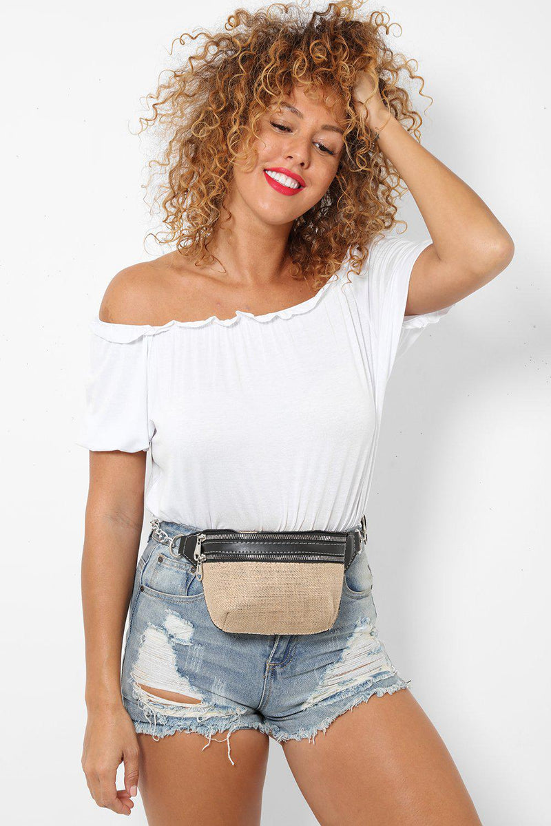 Vegan Leather Black Jute Bumbag - SinglePrice