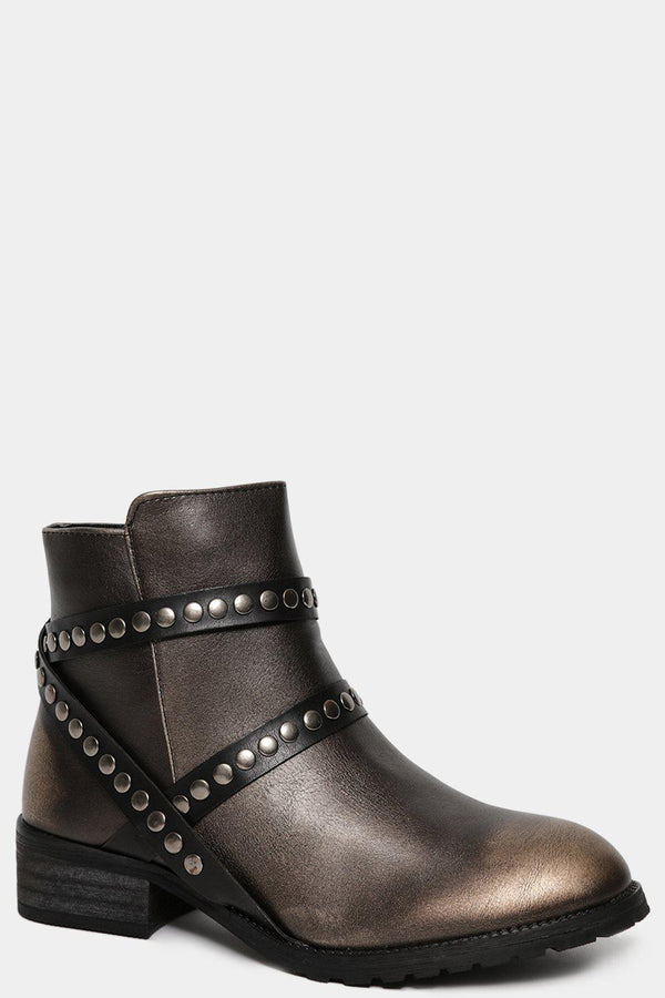 Metallic Brown Studded Straps Ankle Boots - SinglePrice