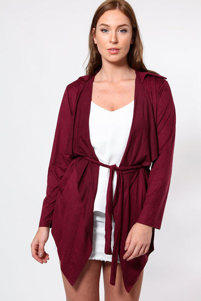 Purple Suedette Waterfall Front Cardigan-SinglePrice
