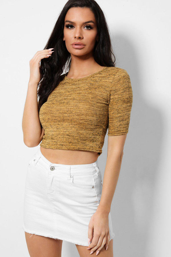 Cropped Mustard Knitted Top - SinglePrice