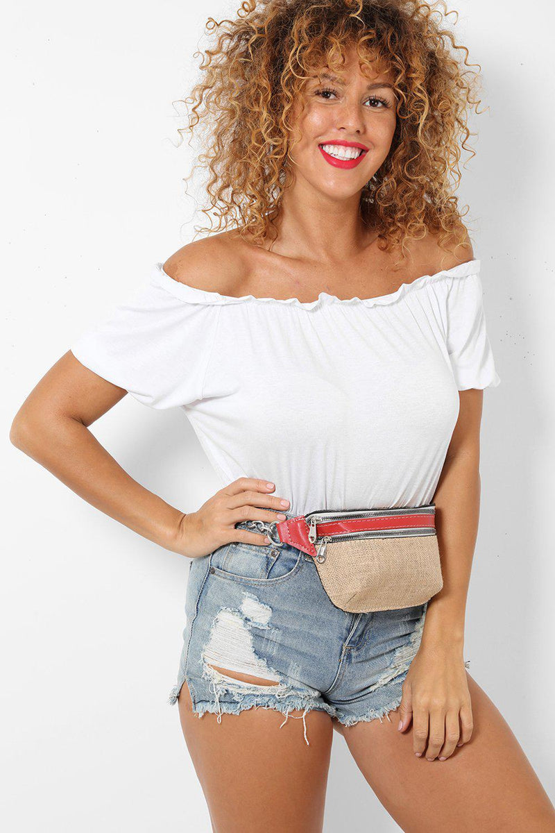 Vegan Leather Red Jute Bumbag - SinglePrice